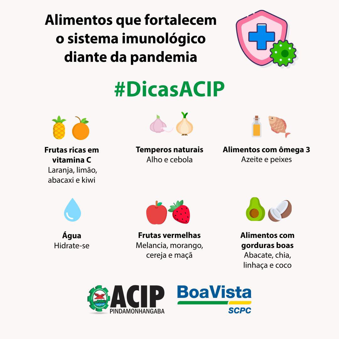 #DicasACIP – Alimentos que fortalecem o sistema imunolófico diante da pandemia
