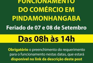 Comércio de Pinda abre no feriado de sete de setembro