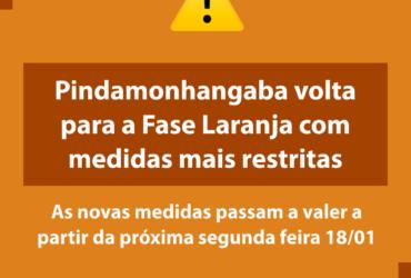 Pindamonhangaba volta à fase laranja e funcionamento do comércio fica restrito a 8 horas