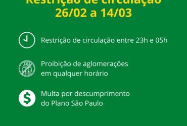 Governo de São Paulo decreta toque de restrição em todo o Estado
